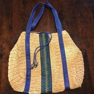 NY&CO embroidered straw beach bag with faux handle